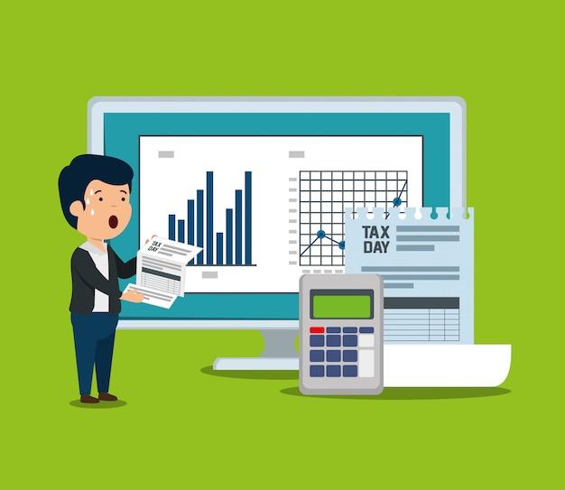 Statistiekenbalk met factuurdocument en datafoon