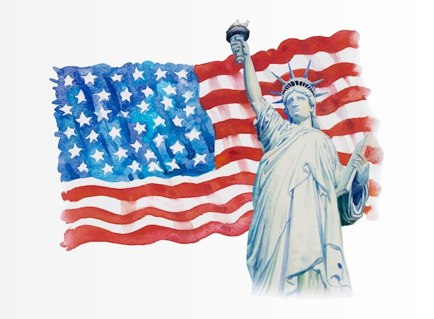 Statue liberty op amerikaanse vlag