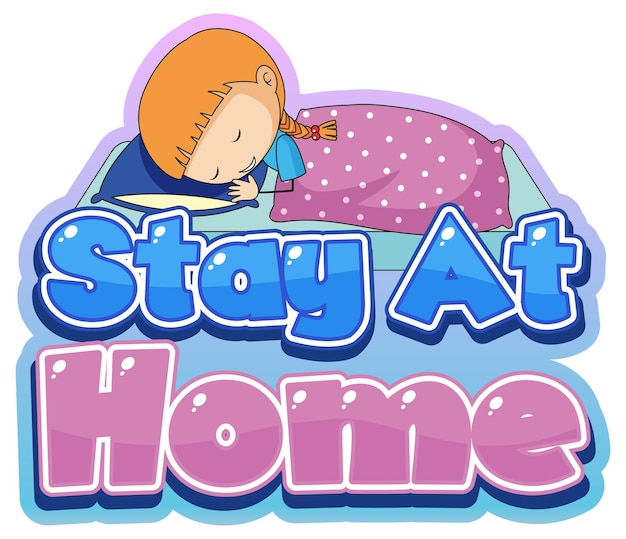 Stay at home-lettertypeontwerp met weinig slapen op witte achtergrond