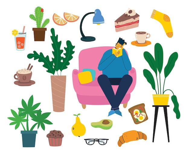 Stay home-collectie, activiteiten binnenshuis, concept van comfort en gezelligheid, set van geïsoleerde, scandinavische hygge-stijl, isolatieperiode thuis in de vlakke stijl