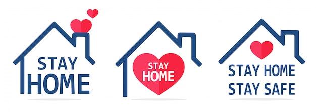 Stay home icon house roof dat het hart beschermt. het concept van thuis blijven om coronavirus te voorkomen