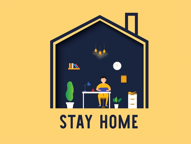 Stay home work home concept.