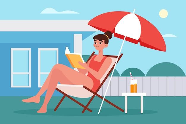 Staycation in het concept van de achtertuin