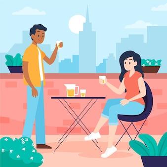 Staycation van het paar op een dakterras