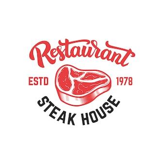 Steak house embleem sjabloon. element voor teken, badge, etiket, poster, kaart. beeld