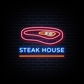 Steak house neon signs style text