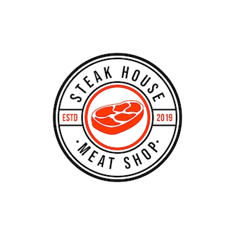 Steak house of slagerij vintage typografische etiketten, emblemen, logo-sjablonen.