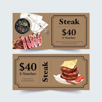 Steak voucher ontwerp met kaas, steak aquarel illustratie.