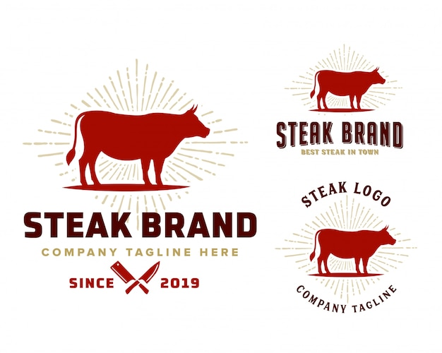 Steak winkel logo sjabloon