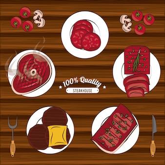Steakhouse bbq emblemen
