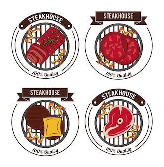 Steakhouse bbq emblemen