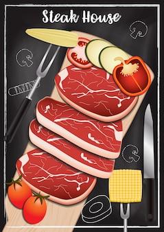 Steakhouse met bordachtergrond