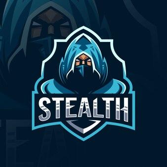 Stealth mascotte logo sjabloonontwerp