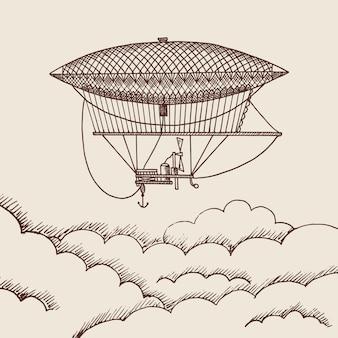 Steampunk hand getrokken lucht ballon boven de wolken