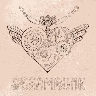 Steampunk hart doodle illustratie