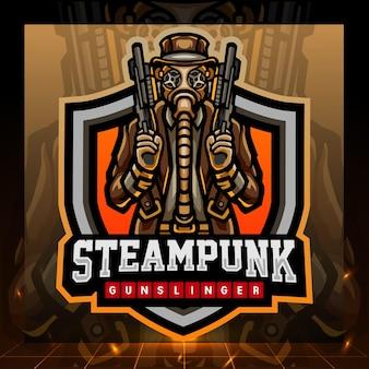 Steampunk revolverheld mascotte esport logo ontwerp