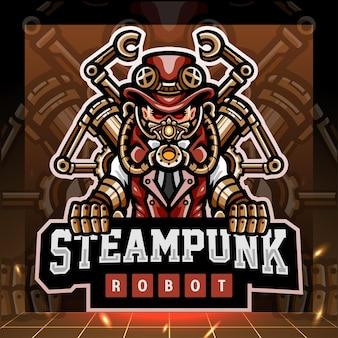 Steampunk robot mascotte. esport logo ontwerp