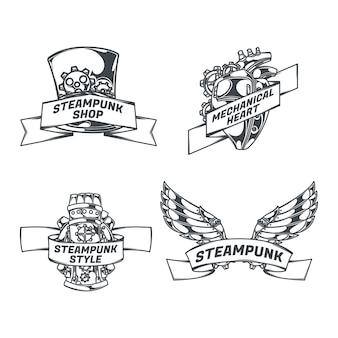 Steampunk set geïsoleerde emblemen met mechanische vleugels hart schets stijl afbeeldingen en linten met tekst