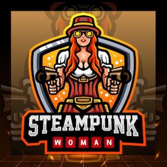 Steampunk vrouw mascotte esport logo ontwerp