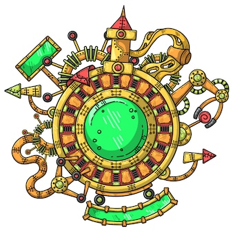 Steampunkillustratie met technische elementen