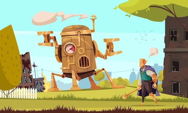 Steampunkmachine en robot in kleding met brandende en beschadigde gebouwen