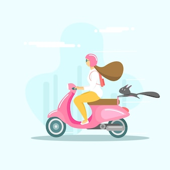 Stedelijk duizendjarig meisje rijdt op een scooter