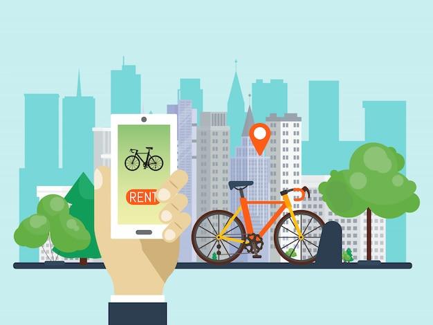 Stedelijk fiets hurend systeem door telefoonapp vectorillustratie te gebruiken. slimme service voor huurfietsen in de stad.