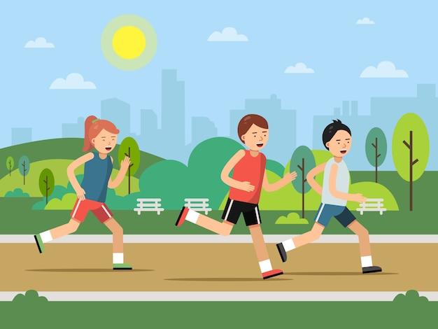 Stedelijk groen parklandschap met rennende volkeren