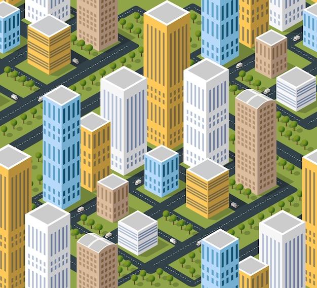 Stedelijk isometrisch illustratiegebied met de bouw