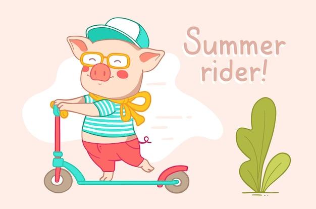 Stedelijk karakter rider varken. roze big in broek, t-shirt, pet, bril, rollen op een scooter