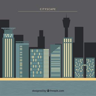 Stedelijk landschap achtergrond met gebouwen in plat ontwerp