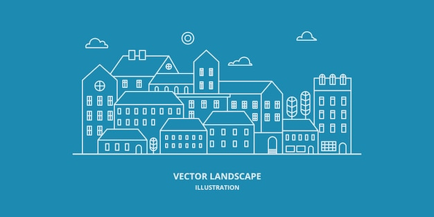 Stedelijk landschap met gebouw, huis en boom. stadsgezicht. dunne lijnstijl illustratie.