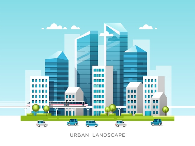 Stedelijk landschap met gebouwen, wolkenkrabbers en stadsvervoer onroerend goed en bouwconcept