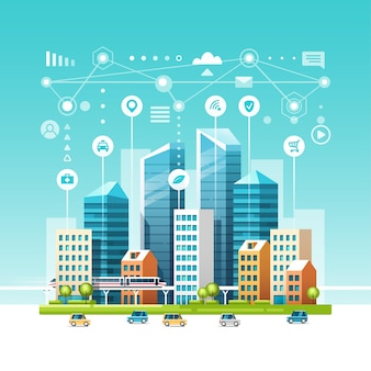 Stedelijk landschap met gebouwen, wolkenkrabbers en transportverkeer. concept van slimme stad met verschillende pictogrammen.