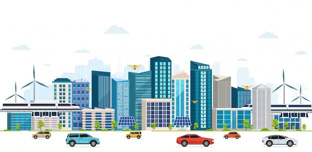 Stedelijk landschap met grote moderne gebouwen, wolkenkrabbers, luchtbrug. straat, snelweg met auto's op witte achtergrond. concept stad.