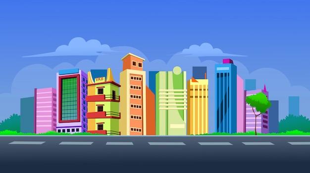 Stedelijk landschap met grote moderne gebouwen