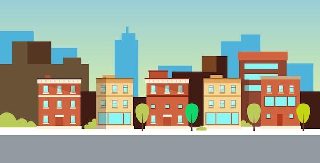 Stedelijk landschap of stadsgezicht met gebouwen moderne woonwijk stadsstraat vlak en horizontaal