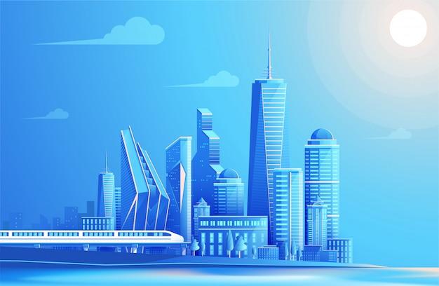 Stedelijk landschap, skyline van de stad en brug.