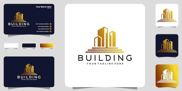 Stedelijk logo voor hoog gebouw in goudkleur en inspiratie voor visitekaartjes
