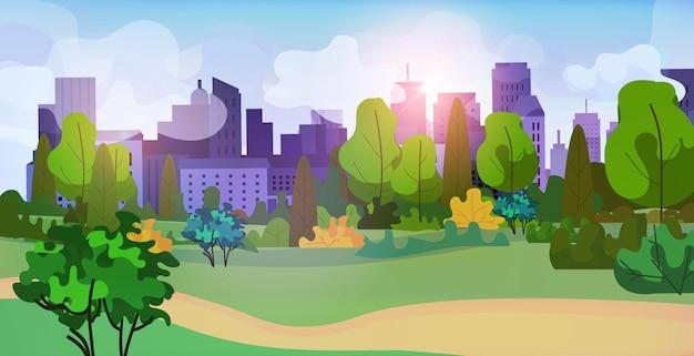 Stedelijk park buitenshuis stad gebouwen stadsgezicht achtergrond horizontale vectorillustratie