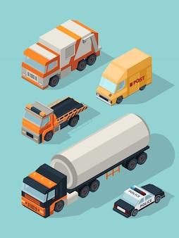 Stedelijk voertuig isometrisch. vervoer stadsauto's gas dienst brandstof vrachtwagen, aanhangwagen bus 3d verkeersbeelden
