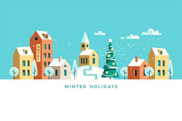 Stedelijk winterlandschap. besneeuwde straat. kerstkaart happy holidays banner.