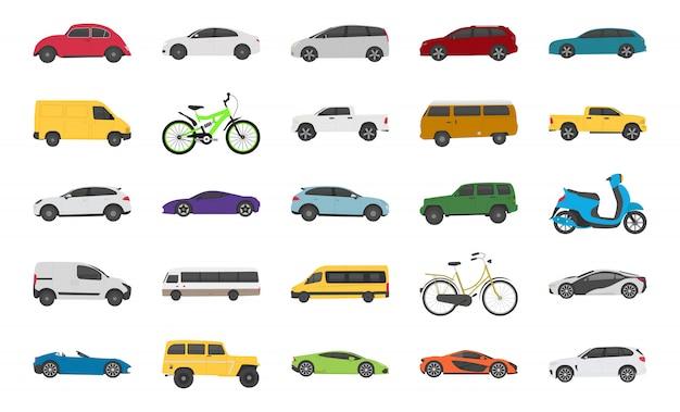 Stedelijke auto plat pictogrammen