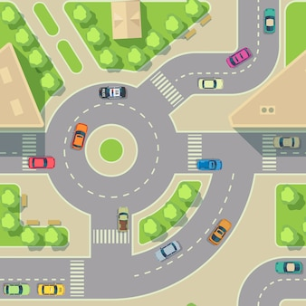 Stedelijke auto's naadloze textuur. vector achtergrond. road intercharge met auto's. vervoer snelweg kruising illustratie