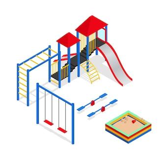 Stedelijke buitenspeeltuinelementen instellen isometrische weergave parkplein voor recreatieve kinderen. illustratie