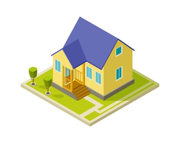 Stedelijke cottage buitenkant. eenvoudige isometrische woningbouw. geïsoleerde 3d huis met bomen vectorillustratie. cottage huis buitenkant, architectuur van het gebouw