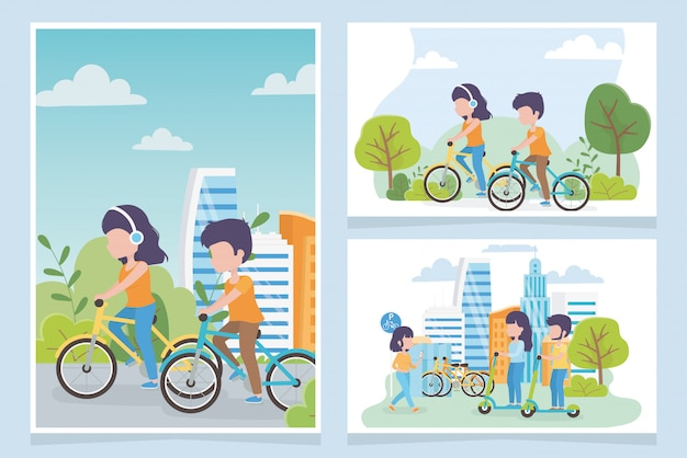 Stedelijke ecologie mensen fietsers en elektrische scooters vervoeren de stad