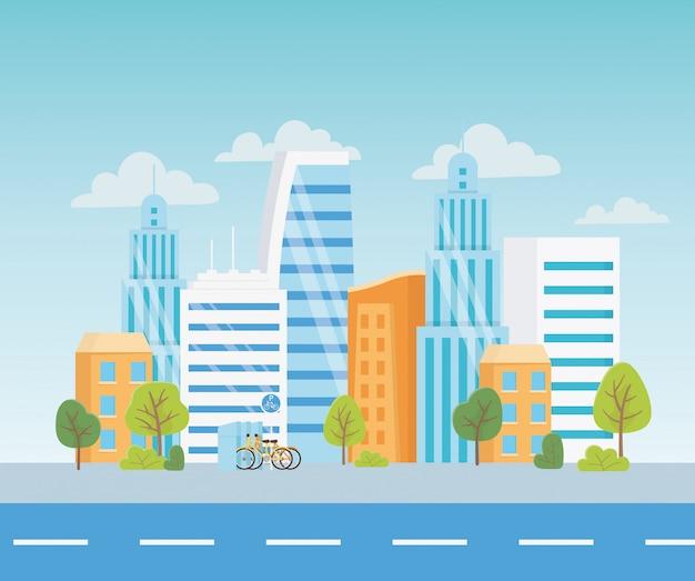 Stedelijke ecologie parkeren fietsen vervoer straat stad stad bomen