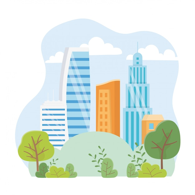 Stedelijke ecologie wolkenkrabbers stad stadspark scène
