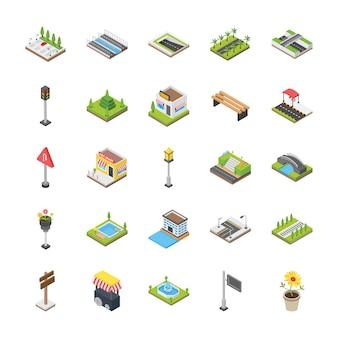 Stedelijke elementen pictogrammen
